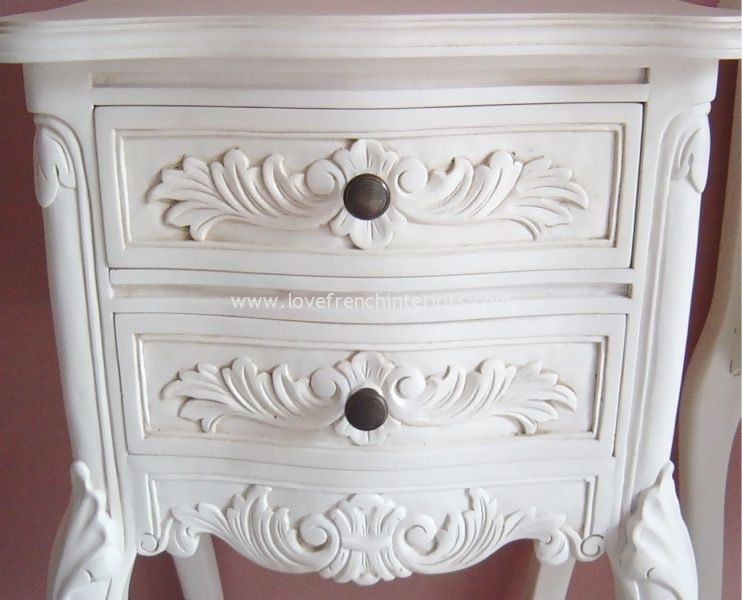 Louis french bedside table in antique white watchthetrailerfo